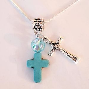Crucifix & Turquoise Cross. 925 Sterling Silver Ne